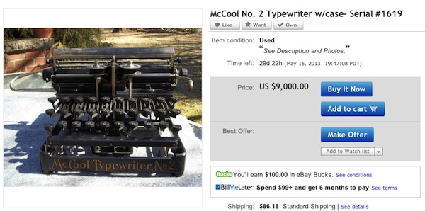 McCool Typewriter No 2