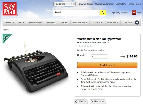 SkyMall Manual Typewriter