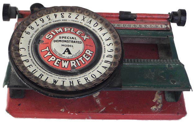 Simplex Typewriter - Model A - index