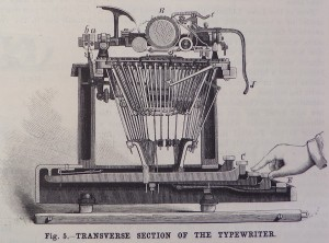 Figure 5. Transverse section of the typewriter. Click to enlarge.