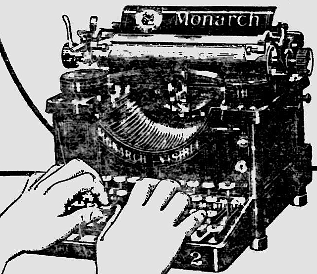 Monarch 2 with tab key in Reading Eagle March 2, 1909