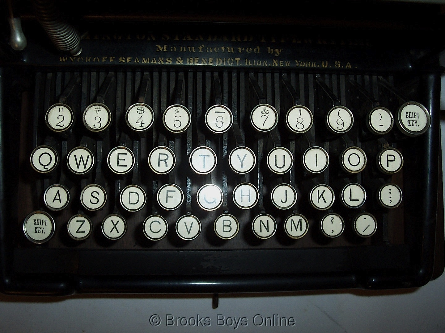 "The keyboard on a later Remington Standard No. 2, featuring ""Shift"" and ""Shift Lock"" keys. This machine was lately offered on eBay."