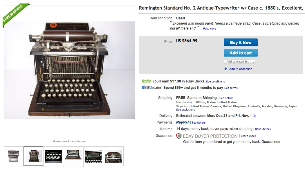 Remington Standard No. 2 one eBay