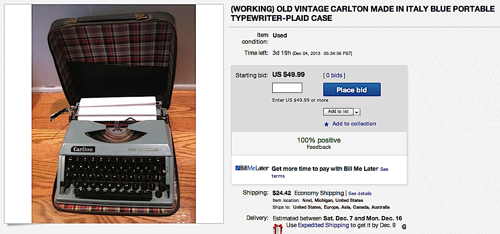 Carlton typewriter on eBay