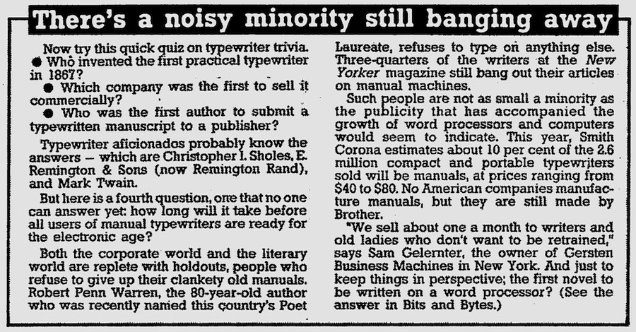 1986 article on manual typewriters