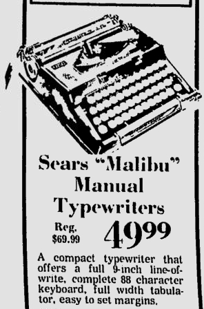 Herald-Journal ad for Malibu Typewriter Aug. 8 1973