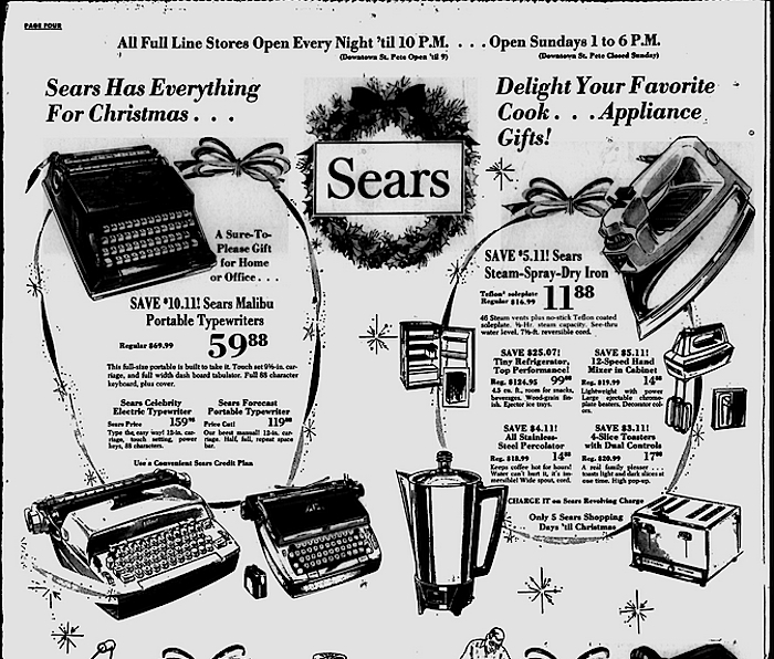 St. Petersburg Times, Dec. 20, 1973 for Malibu Typewriter