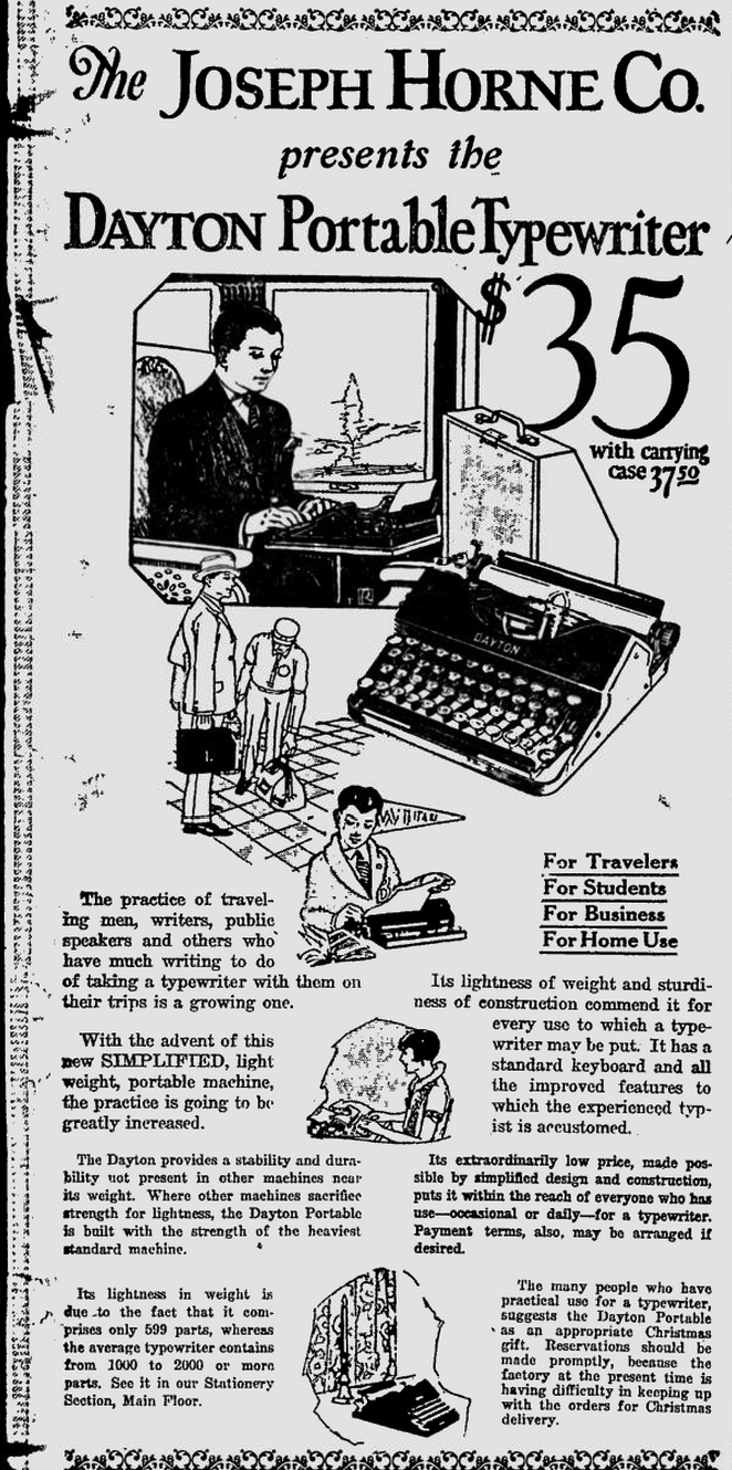 Dayton Portable Typewriter - The Pittsburgh Press - Dec 1, 1924