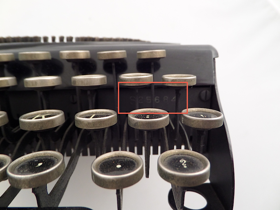 Location of serial number on Remie Scout Model typewriter