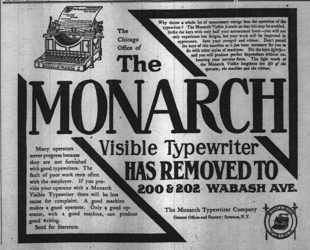 Monarch No 2 ad - Chicago Daily Tribune, May 10, 1906