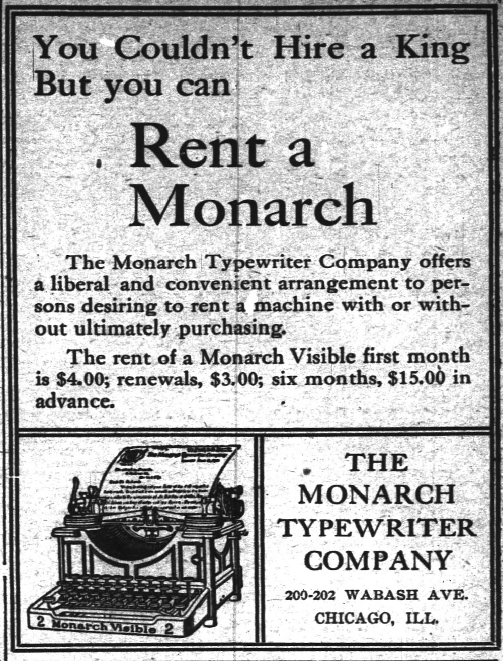 Monarch No. 2 ad - Inter Ocean, Chicago, May 15, 1906