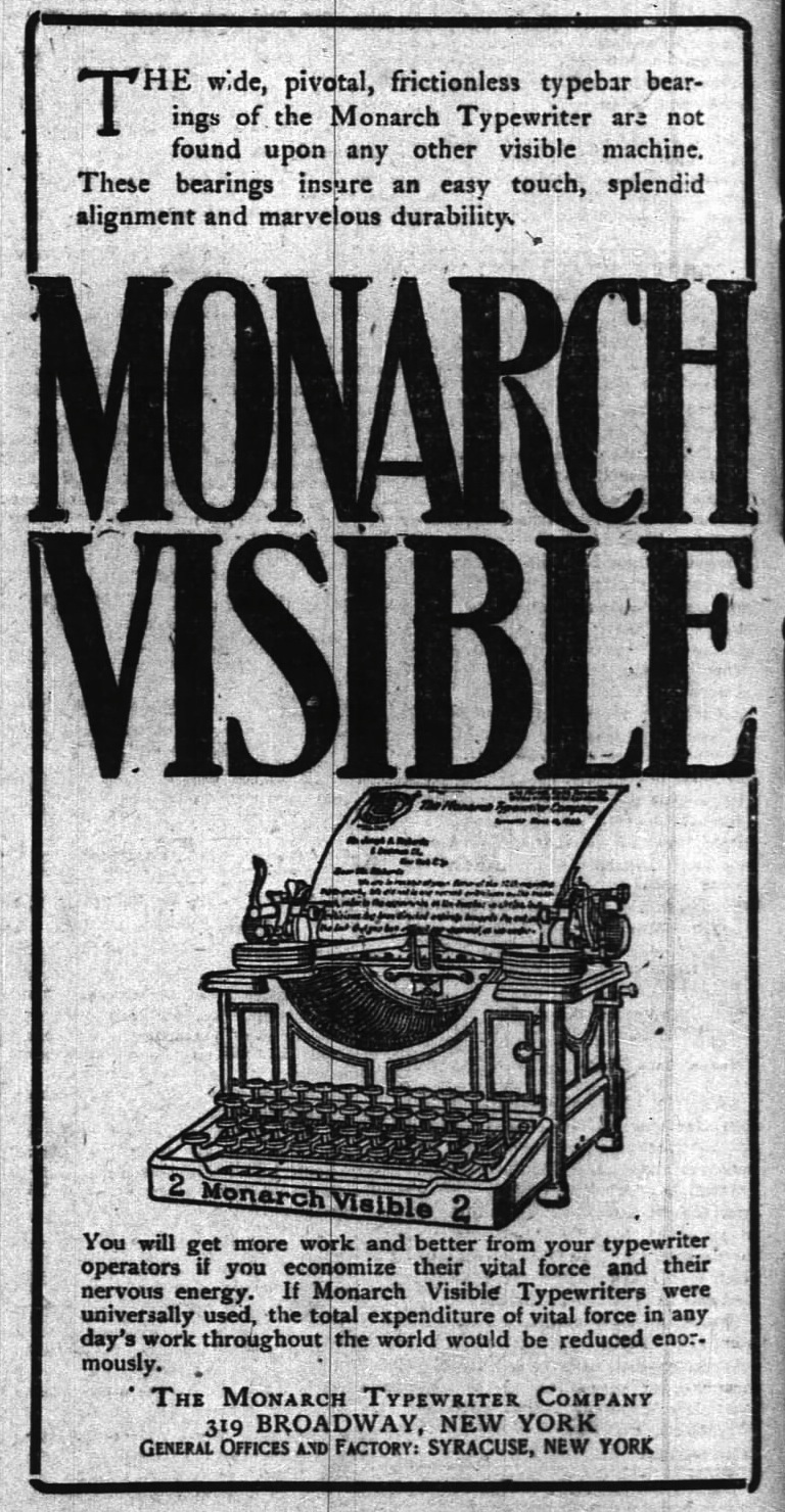 Monarch No. 2 ad - New York Times, Oct. 27, 1906
