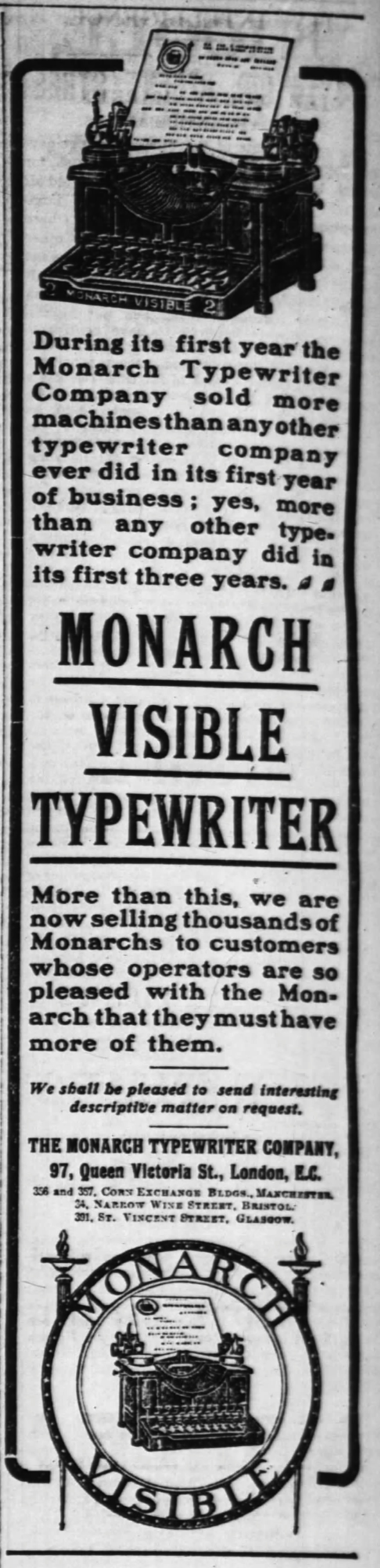 Monarch No. 2 ad - Times, London, March 29, 1906