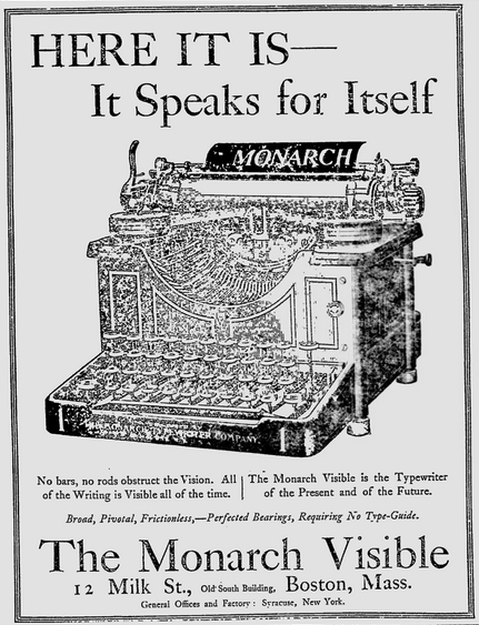 Monarch ad - Boston Evening Transcript, June 23, 1905