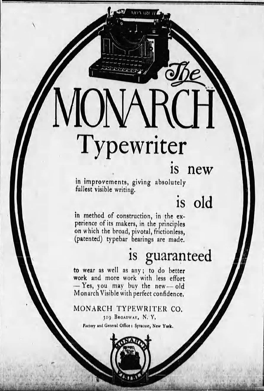 Monarch ad - Evening World, New York, Mar 27, 1905