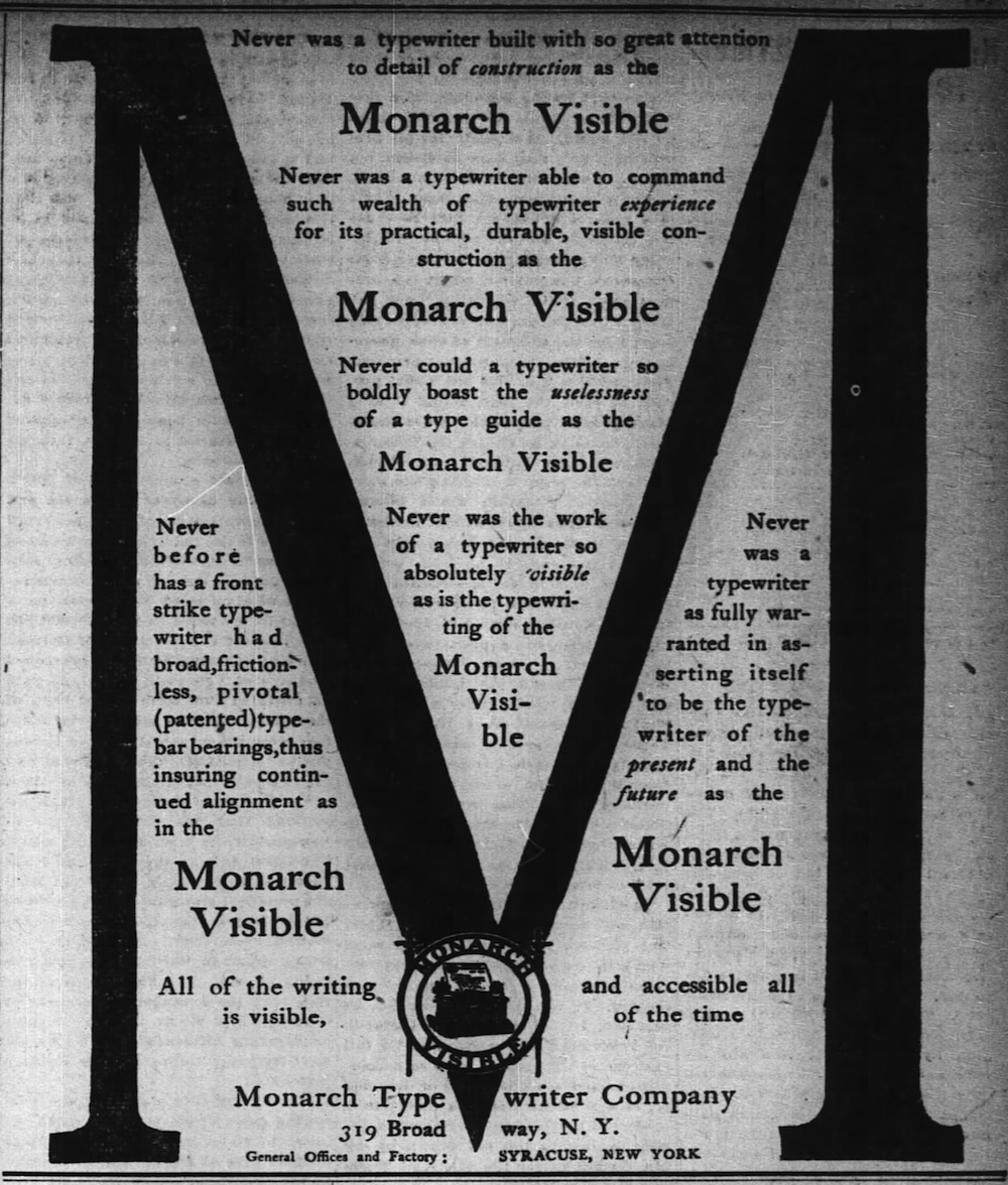 Monarch ad - New York Times, Mar 22, 1905