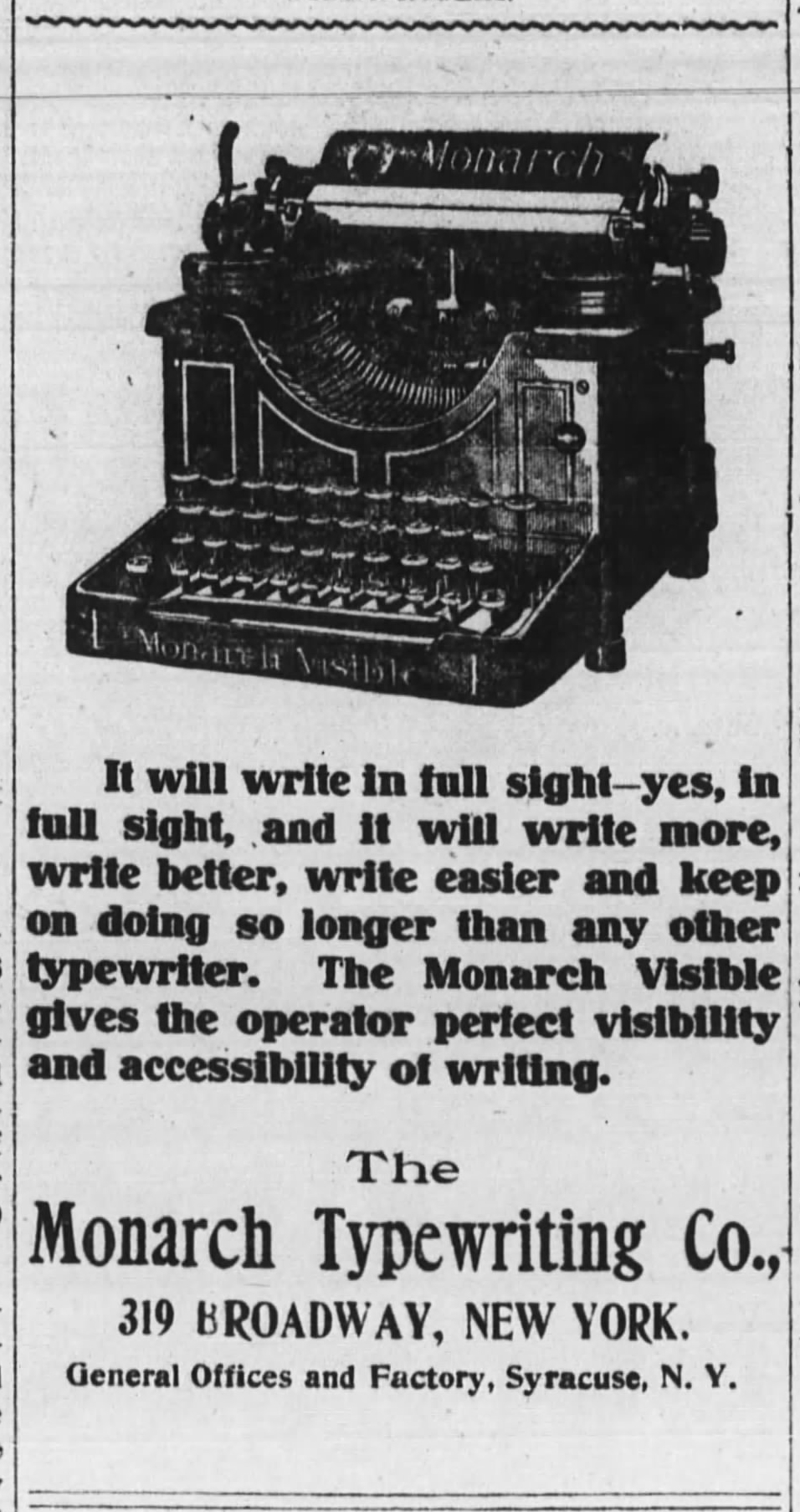 Monarch ad - Wall Street Journal, Dec. 15, 1905