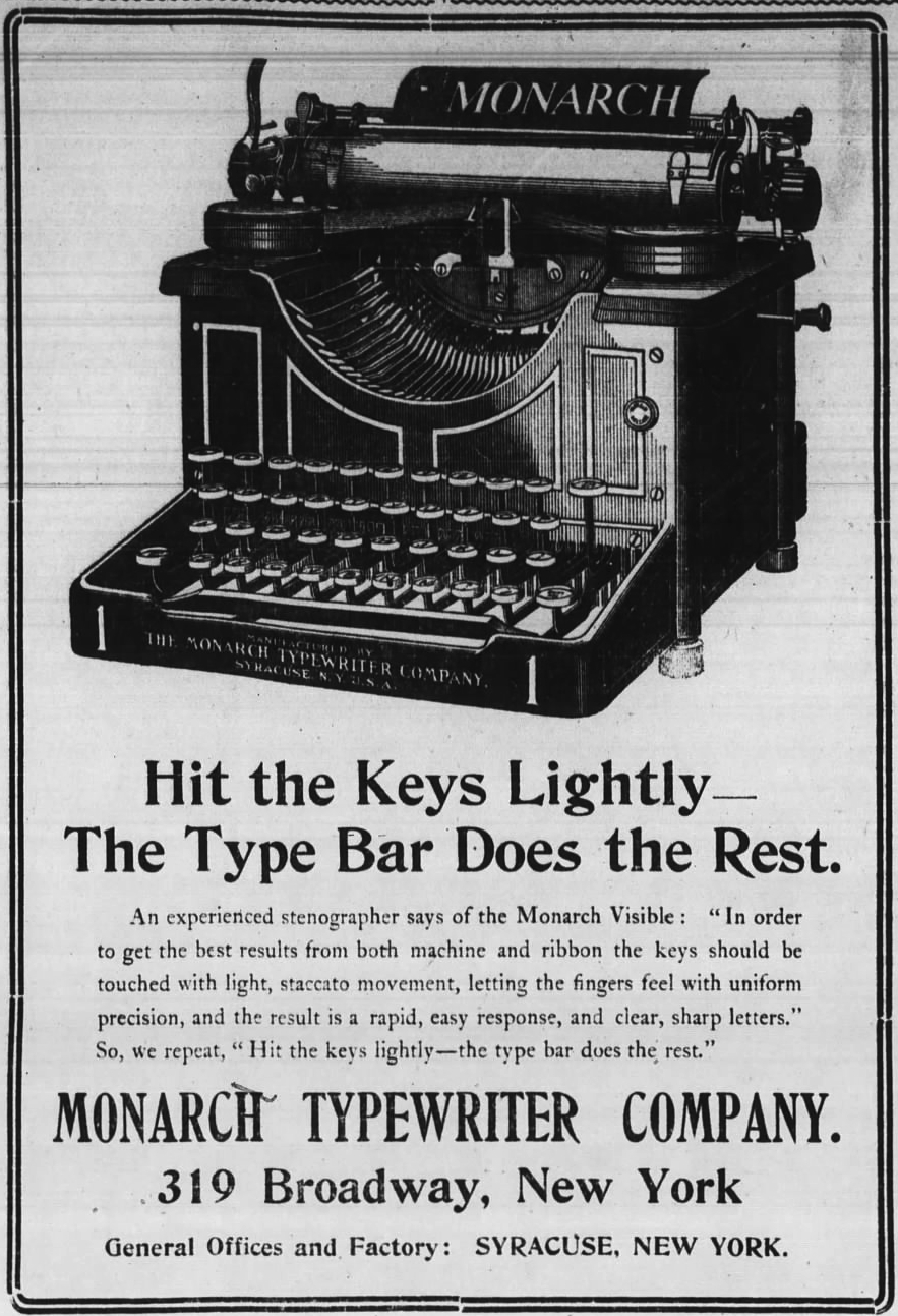 Monarch ad - Wall Street Journal, Dec. 2, 1905