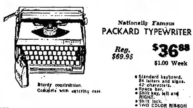 Packard Typewriter, June 29, 1967 ad