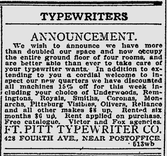 The Pittsburgh Press - May 18, 1917 - Reliance Visible Typewriter