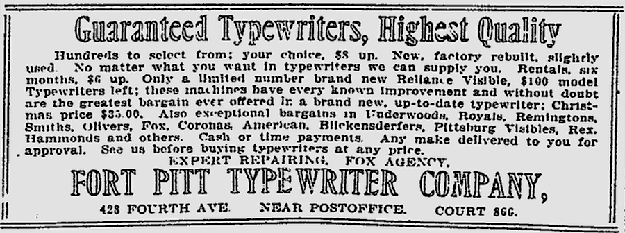 The Pittsburgh Press - Nov 28, 1916 - Reliance Visible Typewriter
