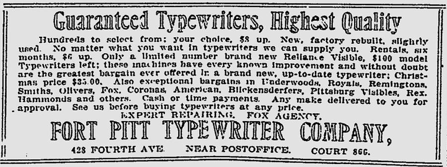 The Pittsburgh Press - Nov 28, 1916 - Reliance Visible Typewriter
