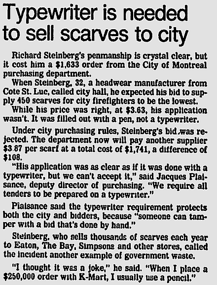 Typewriter Needed - The Montreal Gazette - Apr 1, 1982