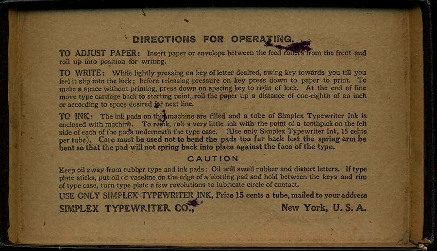ABC Simplex Typewriter Instructions