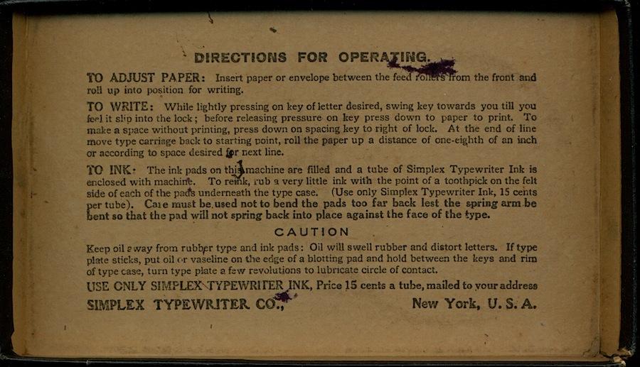 ABC Simplex Typewriter Instructions