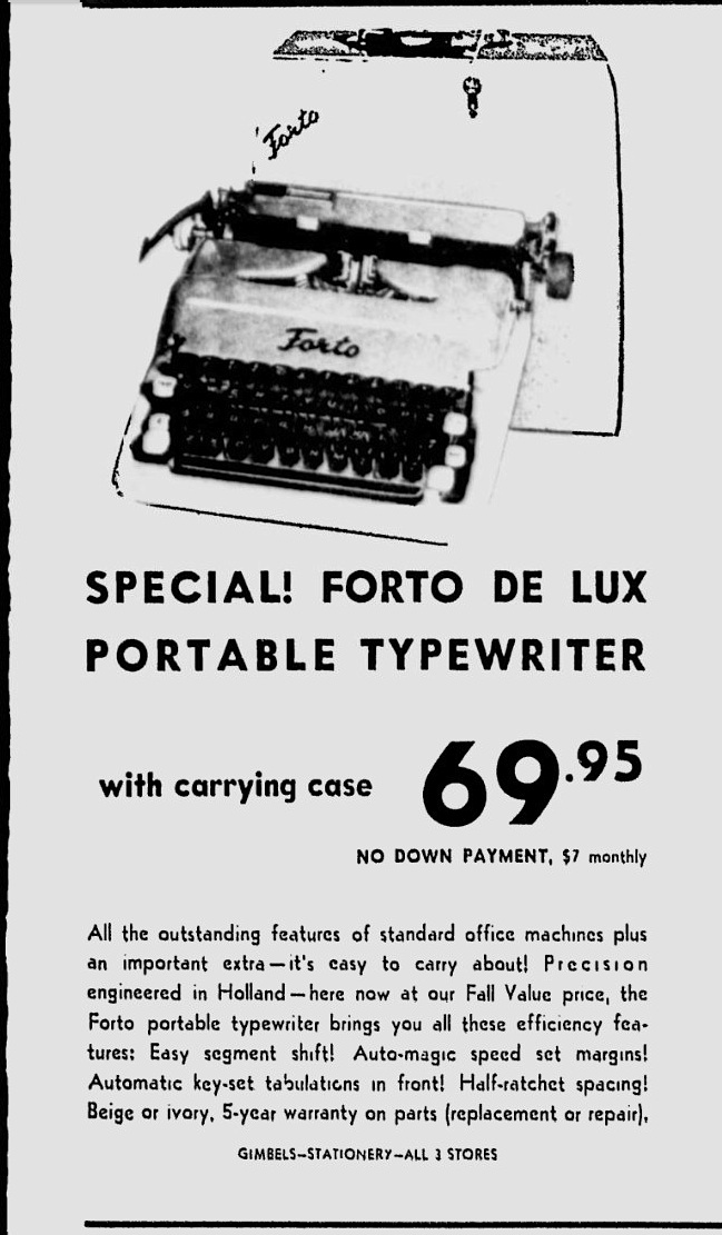 Forto Consul Typewriter - The Milwaukee Journal - Sep 6, 1961