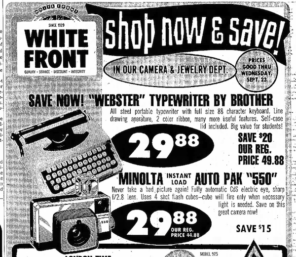 Webster Typewriter ad The Fresno Bee The Republican - Fresno, California - Thu, Sep 17, 1970