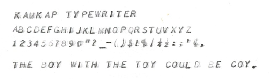 Kamkap Typewriter typing sample