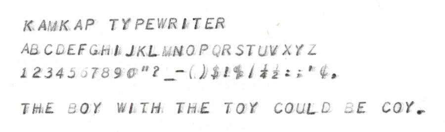 Kamkap Typewriter typing sample