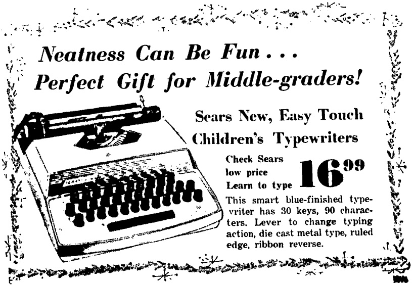 Sears Toy typewriter Gettysburg Times - Dec 6, 1965 TW
