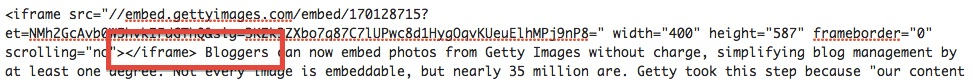 getty embed code with blog text