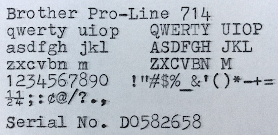 Brother Pro-Line 714 typing sample