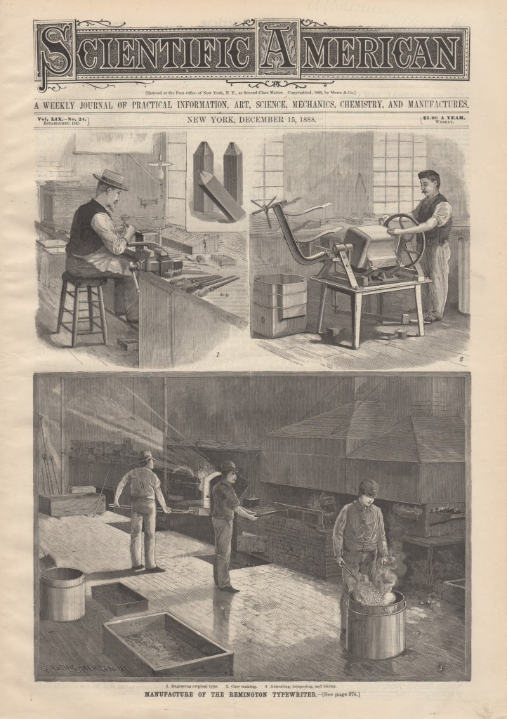 Scientific American December 15, 1888 Remington Typewriter 01