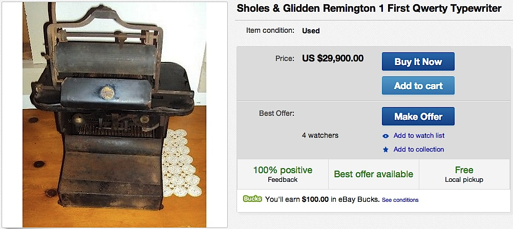 Sholes & Glidden Remington Typewriter on eBay