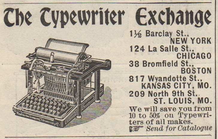 Typewriter Exchange ad 1899 with Remington Standard No. 2