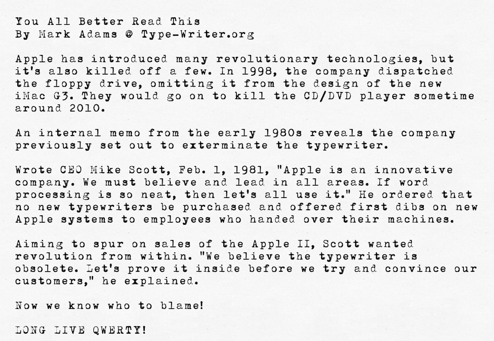 1981 - Apple Killed the Typewriter