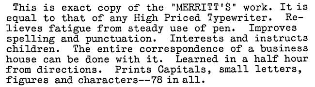 Merritt Typing Sample from advertisement