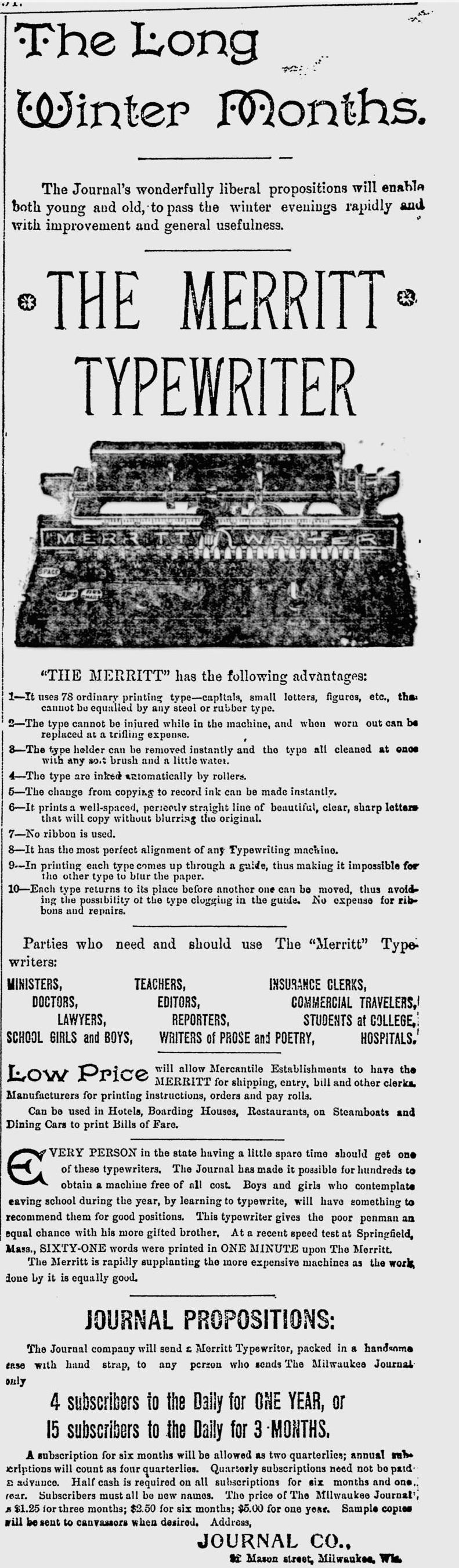The Milwaukee Journal - Dec 23, 1891 - Merritt Typewriter Ad