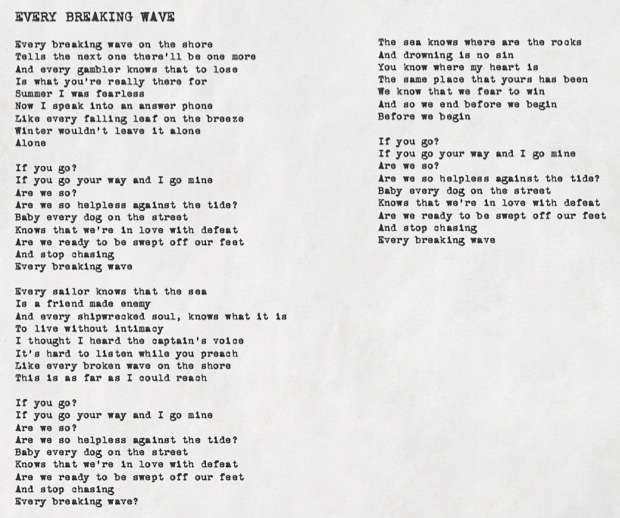 U2 Every Breaking Wave Typed Lyrics
