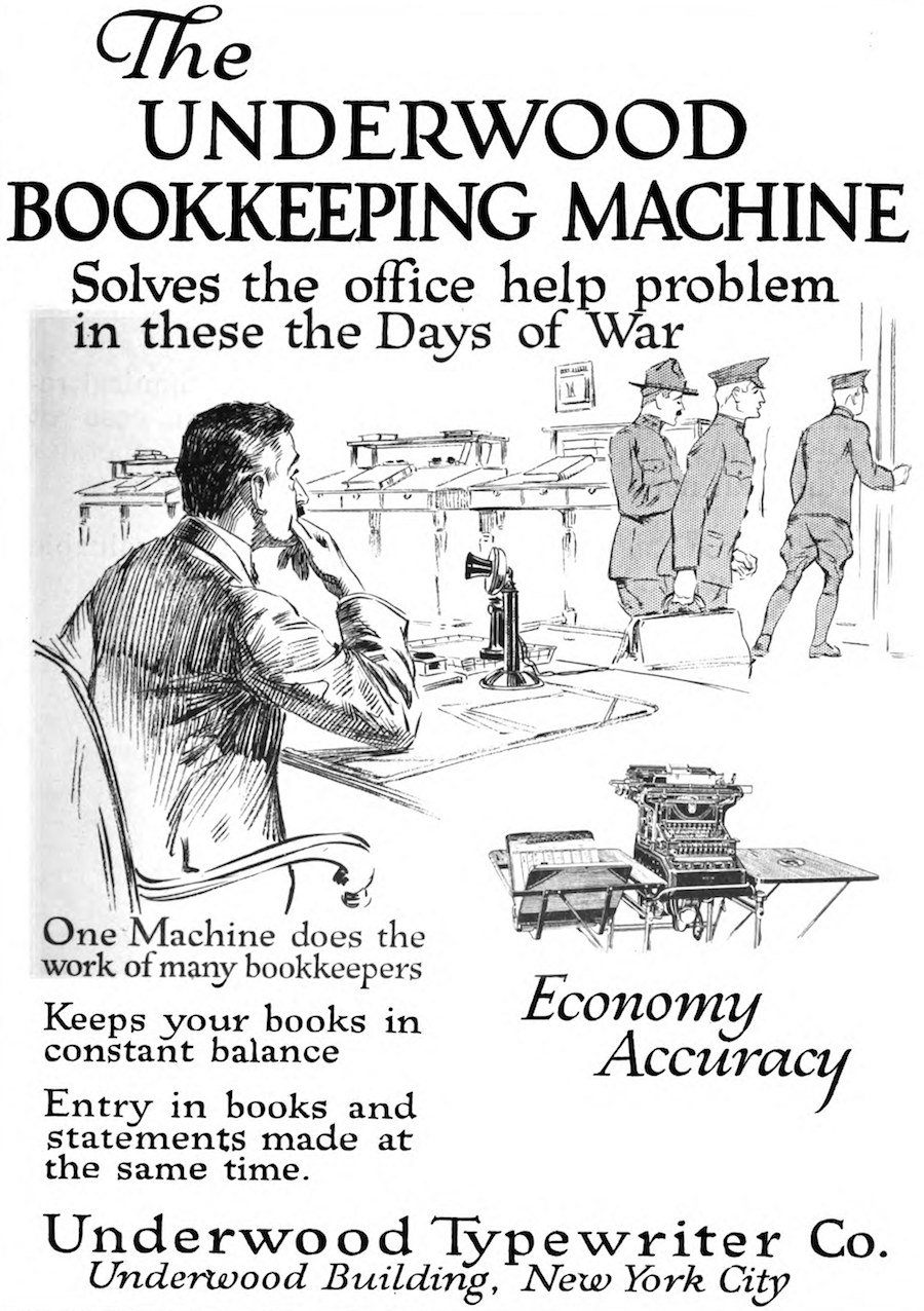 Underwood 1918, Typewriter Topics ad