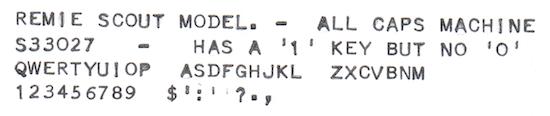 Remie Scout Model Typewriter S33027 Typeface Sample