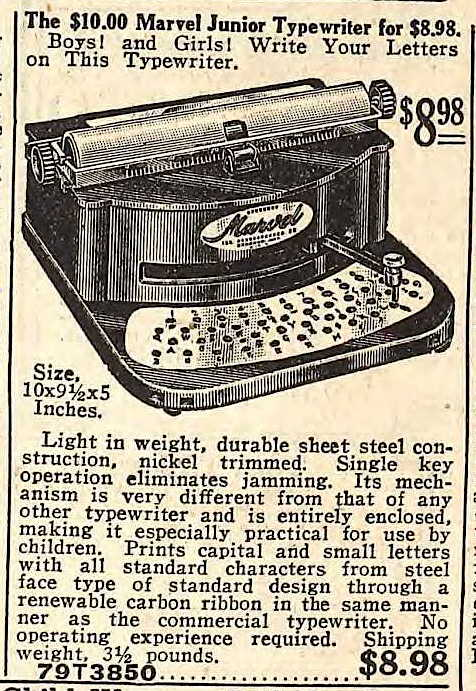 Marvel Junior Typewriter Fall 1924 Sears Catalog