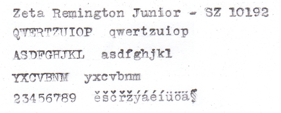 Zeta Remington Junior - Typeface Specimen - SZ 10192