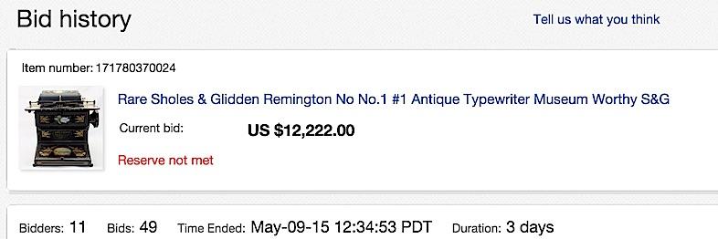Sholes and Glidden eBay auction