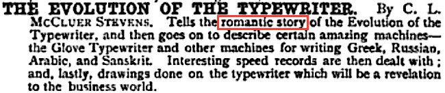 Evolution of the Typewriter - a romantic history of the machine