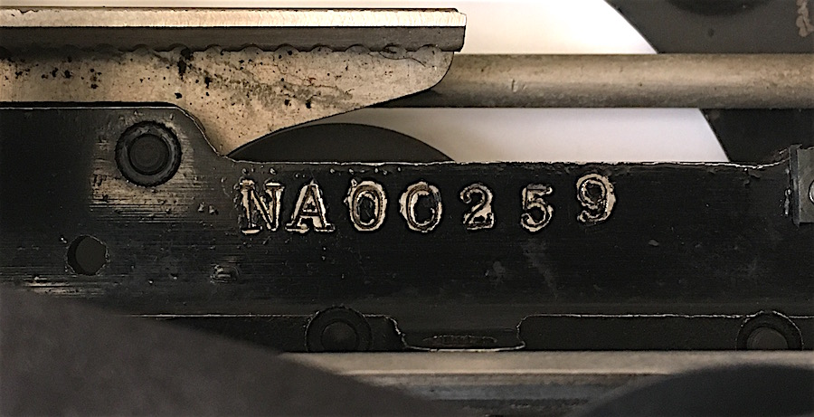 Remington Portable No 1 NA00259 photo 03 serial number